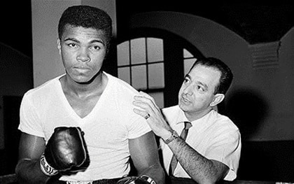Muhammed Ali with personal training coach Angelo Dundee