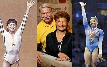Nadia Comaneci & Simone Biles with personal training coaches Karolyi